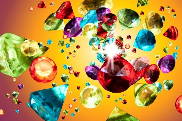 공중으로 날아가는 다채로운 보석
