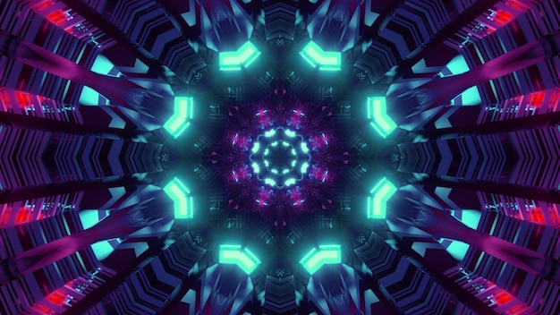 Colorful geometric pattern with neon lights 3d illustration