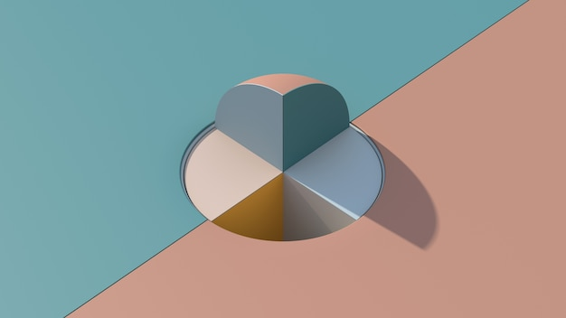 Colorful geometric shape. segments of sphere. hard light. abstract illustration, 3d render.