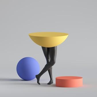 Красочные геометрические формы и черные ноги модели человека.