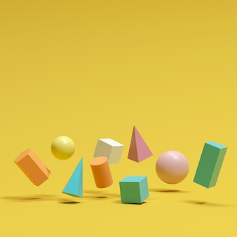 Colorful geometric shapes set floating on yellow background. minimal concept idea