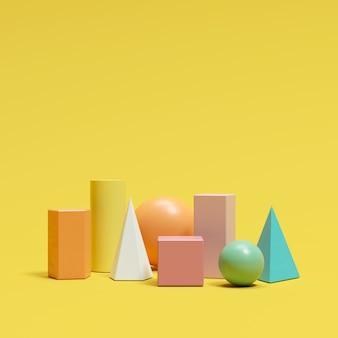 Colorful geometric shapes set on yellow background. minimal concept idea