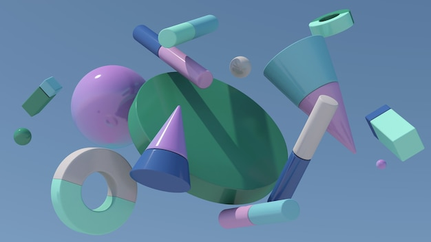 Colorful geometric shapes in the sky. abstract illustration, 3d rendering.