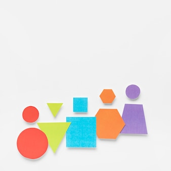 Colorful geometrical shapes on white background