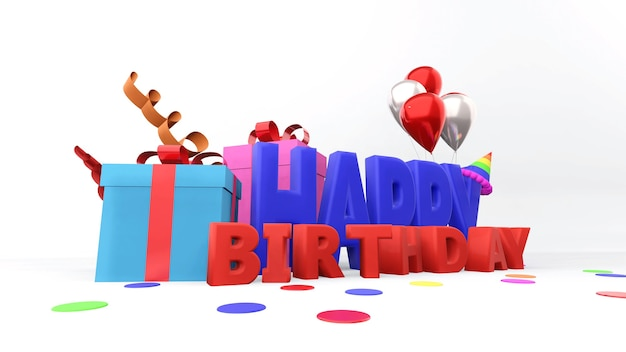 Colorful gift boxes and happy birthday text