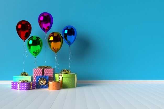 Colorful gift boxes with balloons on background