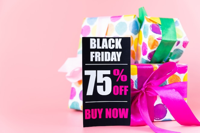 Colorful gifts with black friday tag