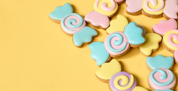Colorful gingerbread cookies in the form of candies in glaze. Free Photo