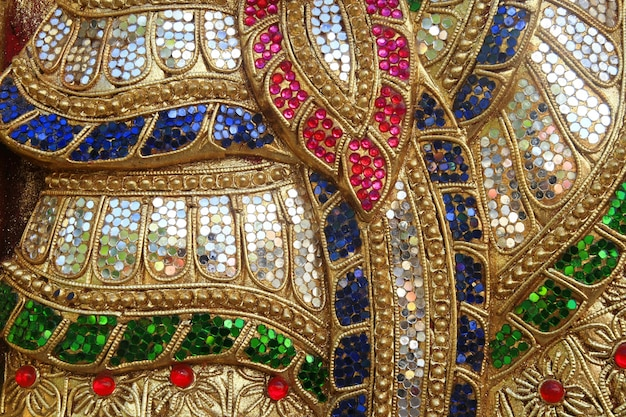 Colorful glass art wall, thai temple