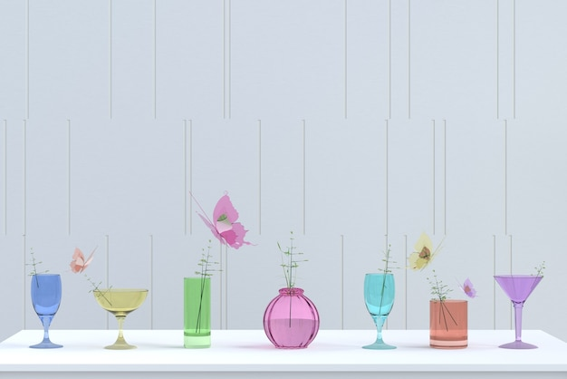 Colorful glass background on christmas and new year party day.3d render