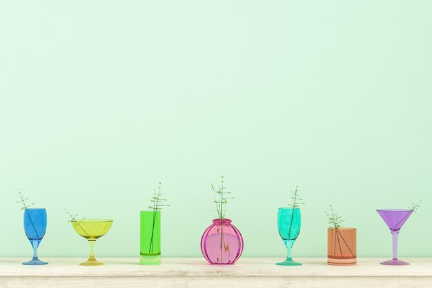 Colorful glass background on christmas and new year party day. decor with branch flower. 3