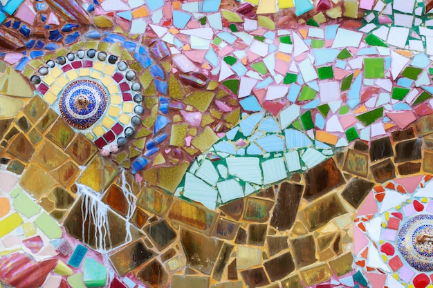Colorful glass and tile wall texture background, mosaic art
