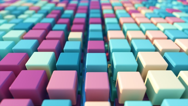 A colorful grid of three-dimensional moving cubes