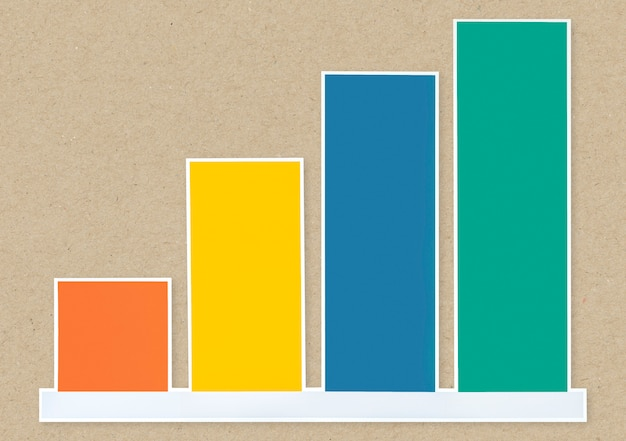 Colorful growth graph icon isolated