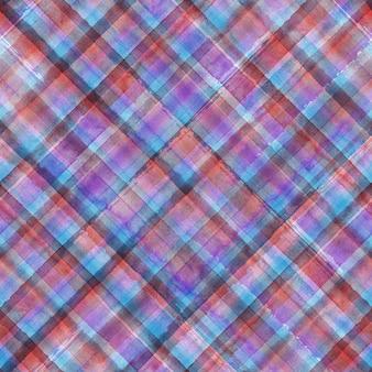 カラフルなグランジマドラスタータンチェック柄斜め抽象的な幾何学的なシームレスな背景。紫赤青とピンクのストライプと水彩の手描きのシームレスなパターン。壁紙、ラッピング、テキスタイル、ファブリック