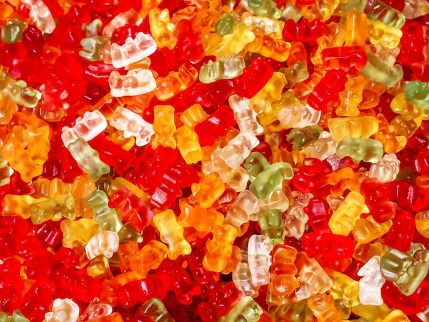 Colorful gummy bears background