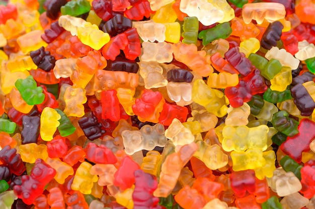 Colorful gummy bears candy
