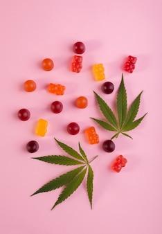 분홍색 배경에 대마초의 신선한 녹색 잎과 대마초 의료용 마리화나로 만든 다채로운 거미 곰. cbd 및 thc 의료 제품.