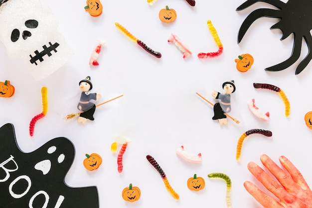 Colorful halloween decorations laid in order