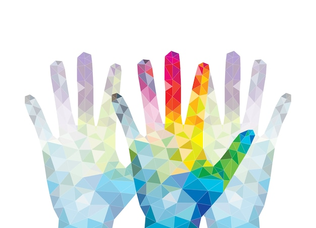 Colorful hands reach up