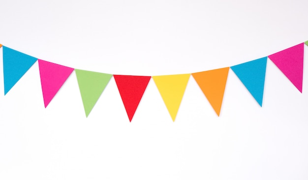 Colorful hanging paper flags, decor items for party, festival, celebrate event