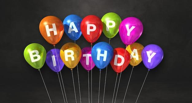 Красочные воздушные шары с днем рождения. открытка. 3d рендеринг