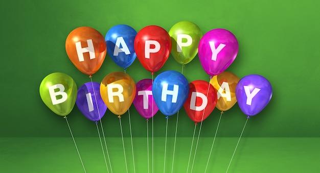 Красочные воздушные шары с днем рождения на зеленом фоне сцены. горизонтальный баннер. 3d визуализация иллюстрации