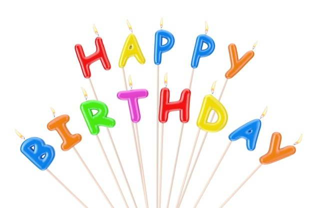 Colorful happy birthday candles letters sign on a white background. 3d rendering