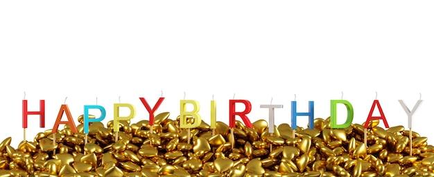 Красочное слово «с днем пасхи» сделано с перекрытием свечи золотые сердца празднования дня рождения на белом фоне для копирования пространства. 3d визуализация. минимальная идея концепции.