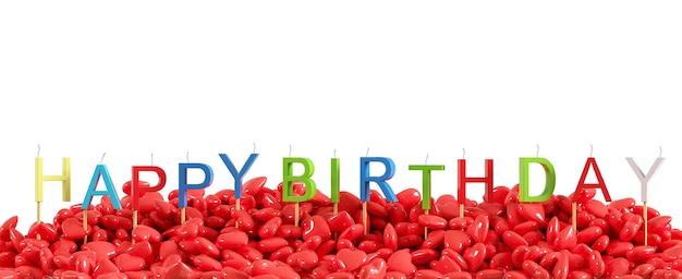 Красочное слово «с днем пасхи» сделано с празднованием красных сердец перекрытия свечей для события дня рождения на белом фоне для копирования пространства. 3d визуализация. минимальная идея концепции.