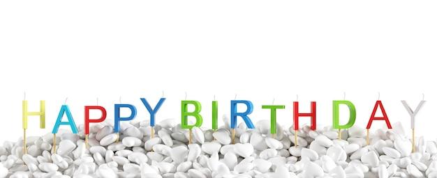 Красочное слово «с днем пасхи» сделано с празднованием белых сердец перекрытия свечей для события дня рождения на белом фоне для копирования пространства. 3d визуализация. минимальная идея концепции.