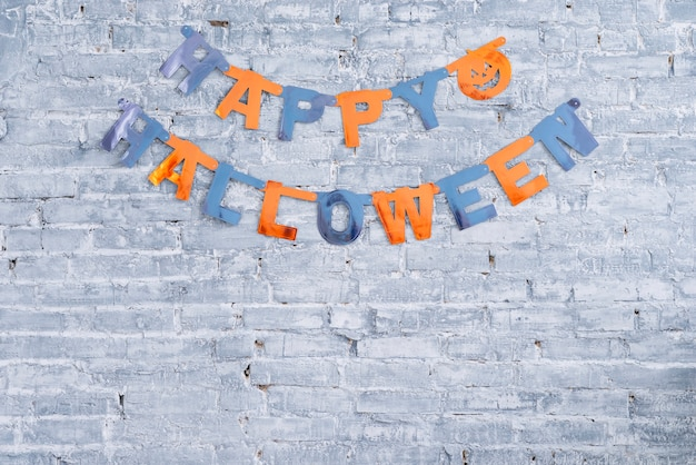 Colorful happy halloween garland