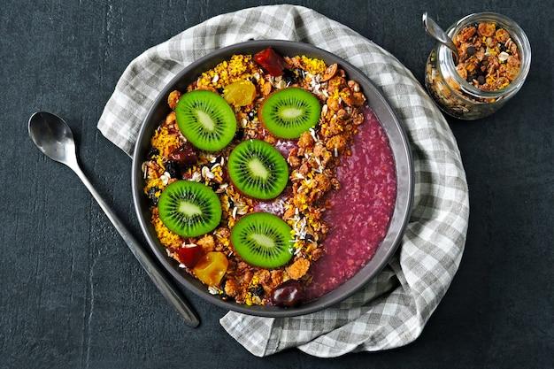 Colorful healthy acai bowl.