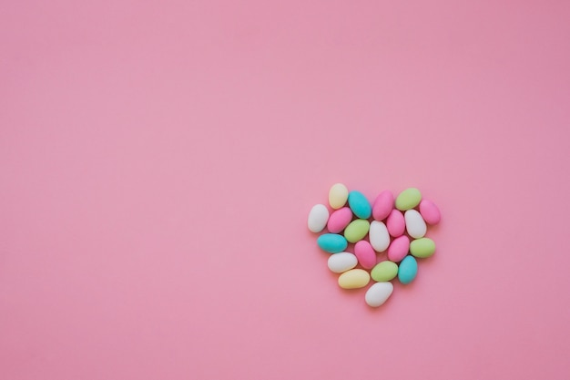 Colorful heart made of candies