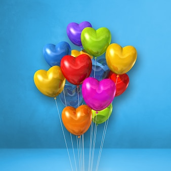 Colorful heart shape balloons bunch on a blue wall background. 3d illustration render