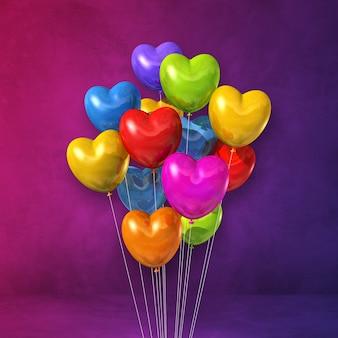 Красочные воздушные шары в форме сердца кучу на фиолетовом фоне стены. 3d визуализация иллюстрации