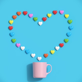 Colorful hearts shape with pink mug on blue background. minimal valentine concept idea.