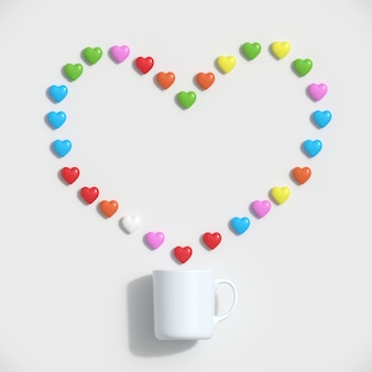 Colorful hearts shape with white mug on white background.
