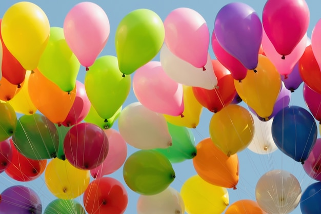 Colorful helium balloons flying