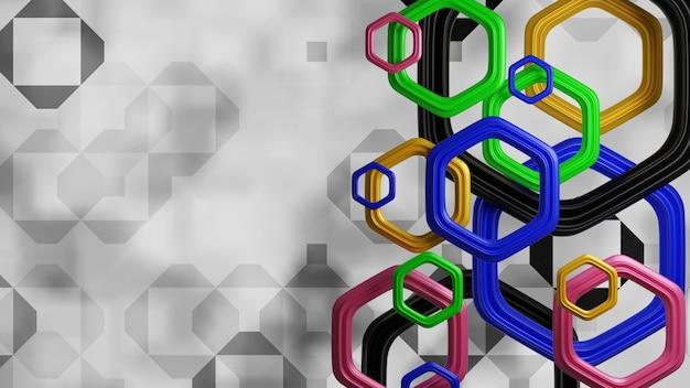 ハイテク針の色の背景、3dレンダリングのカラフルな六角形の背景技術
