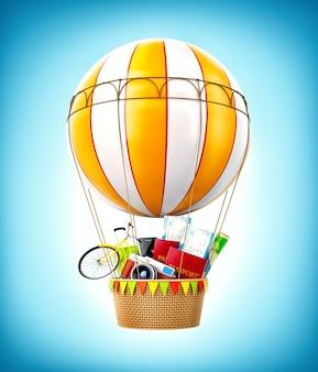 パスポート、チケット付きのカラフルな熱気球