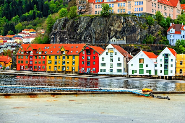 Colorful houses, harbor and mountain in bergen, norway