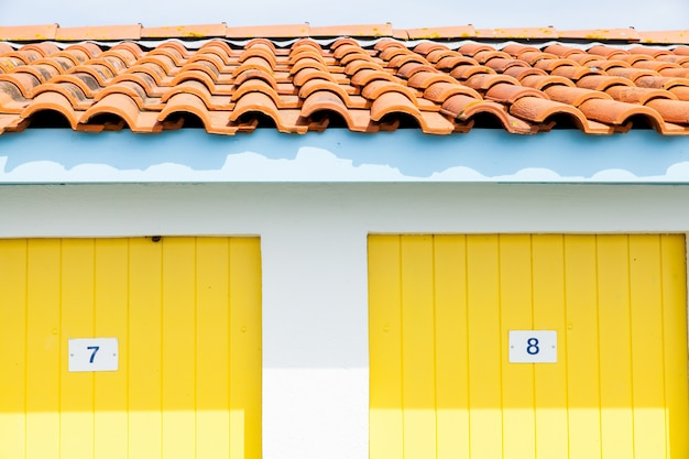 Colorful houses of oyster farmers or fishermen in the bay of arcachon