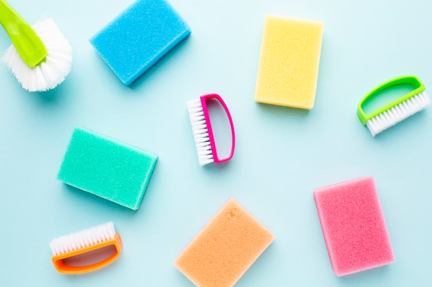 Colorful hygiene products copy space