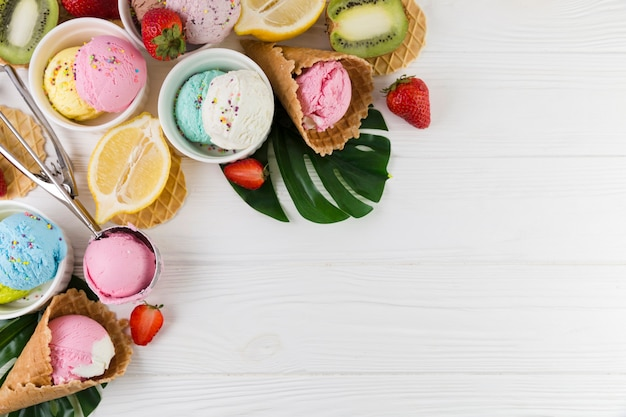 Colorful ice cream served with fruits