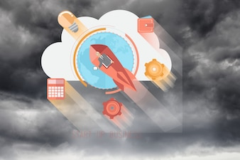 Colorful icons with cloudy background