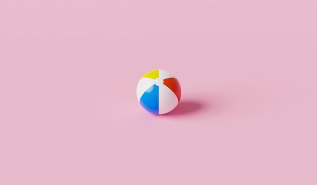 Красочная надувная игрушка пляжа мяч на розовом летнем фоне с концепцией воздушного шара. 3d-рендеринг.