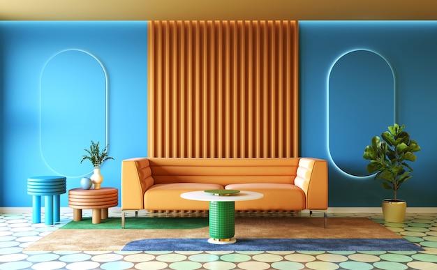 Colorful interior design of living room memphis concept 3d render