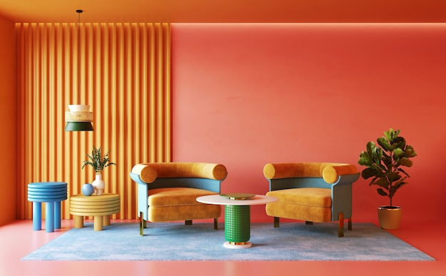Colorful interior desing of living room memphis concept 3d render