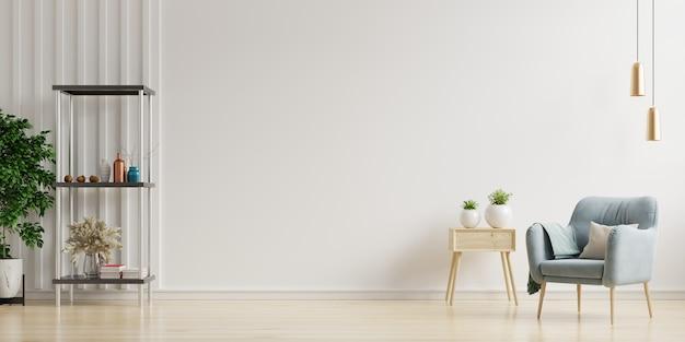 빈 흰 벽 배경, 3d 렌더링에 분홍색 안락 의자와 화려한 인테리어